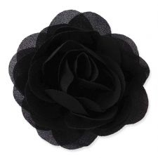 8cm Camellia BLACK Fabric Flower Applique